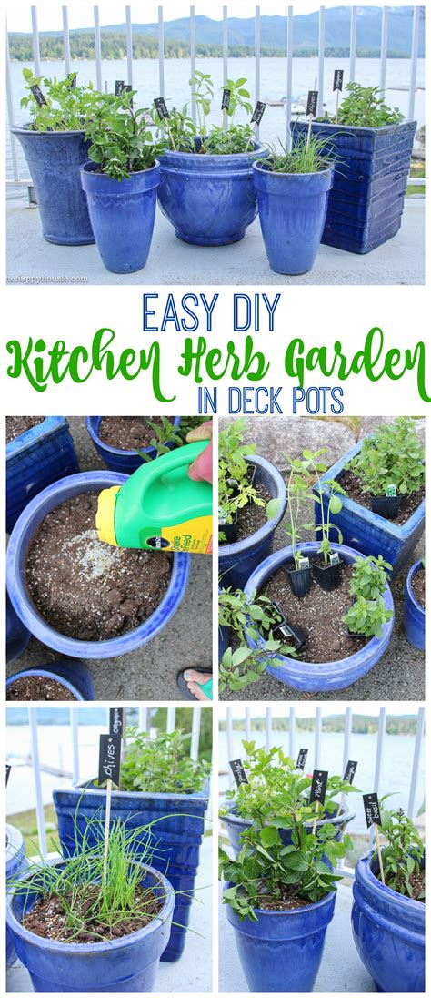 easy diy kitchen herb garden in deck pots the happy housie