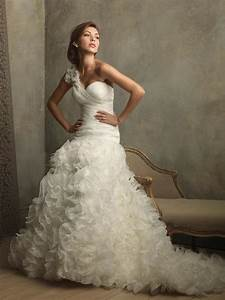 Ivory one shoulder ruffles floral ball gown vintage for Wedding dress with ruffles on bottom