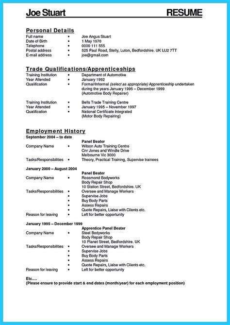 Key Parts Of A Resume by Writing A Concise Auto Technician Resume