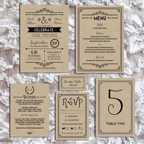 black rustic vintage diy wedding invitation set