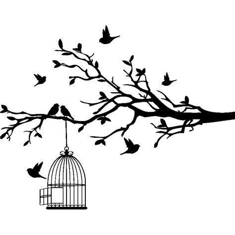 trompe l oeil cuisine sticker oiseaux sur branche s 39 échappent de leurs cage