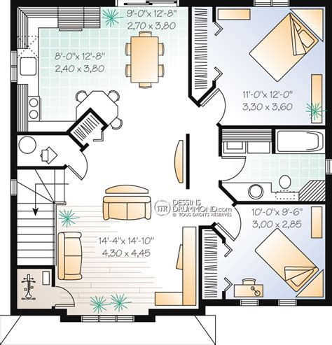 plan de maison en l avec 4 chambres duplex triplex w2096 maison laprise maisons pré