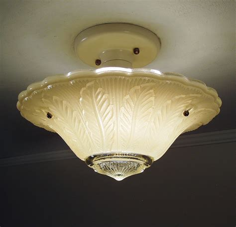 antique 1930s vintage deco glass ceiling light fixture