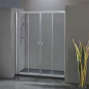 Porta Doccia Scorrevole Con Apertura Centrale 1703  4 Da 139  147 Cm In Cristallo 6 Mm