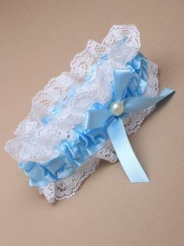 blue ribbon  lace garter  pearl  bow arran view