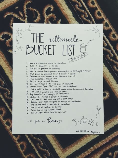 bucket list the great list 100 days of