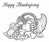 Thanksgiving Coloring Basket Fruit Horn Plenty Canada Pages Happy Feast Drawing Colouring Packed Turkey Baskets Pointillism Dinner Template Pumpkin Seurat sketch template