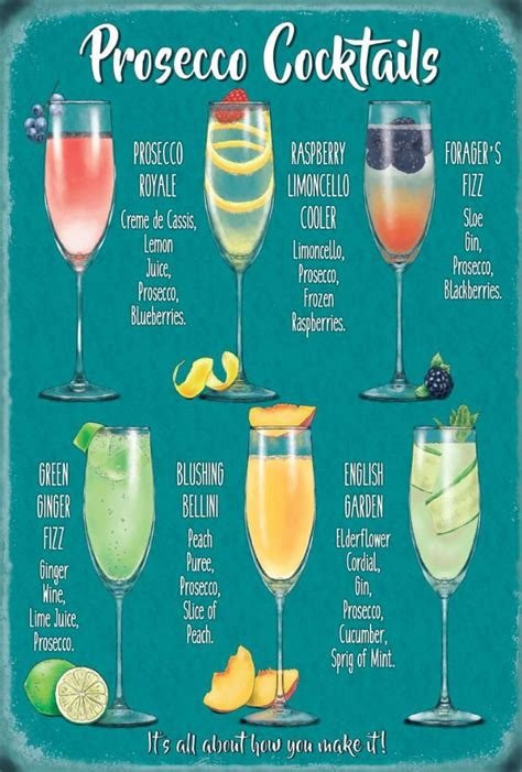Kitchen Diner Ideas - prosecco cocktail recipes metal wall sign 3 sizes
