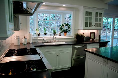 kitchen garden windows Kitchen Contemporary with bar bay