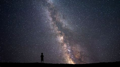 Wallpaper Night Sky Silhouette Stars Milky Way