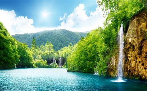 nature waterfall summer lake trees hd wallpaper