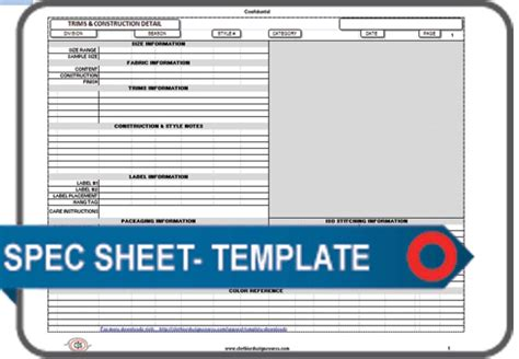 apparel spec sheet template blank documents  forms
