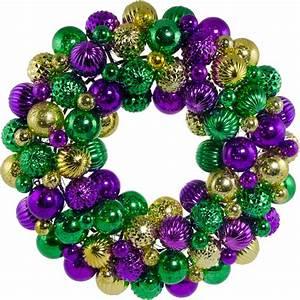 "16"" Antique Finish Ball Wreath: Purple, Green & Gold"