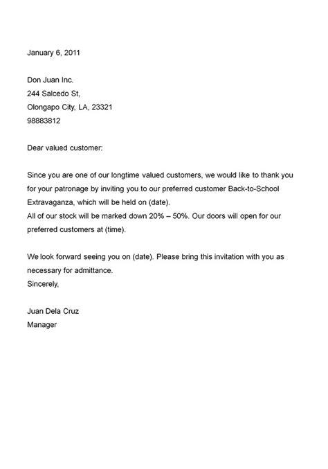 business invitation letter sample letters  sample