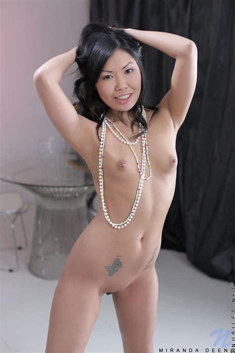 Cute Asian Miranda Deen Naked In Striped Socks