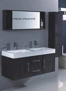 Meuble Double Vasque Suspendu : salle de bain meuble jina grand meuble salle de bain double vasque suspendu avec colonne ~ Melissatoandfro.com Idées de Décoration