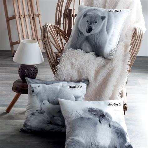 rideau occultant chambre coussin ours polaire 40 x 40 cm déhoussable par zip pas cher