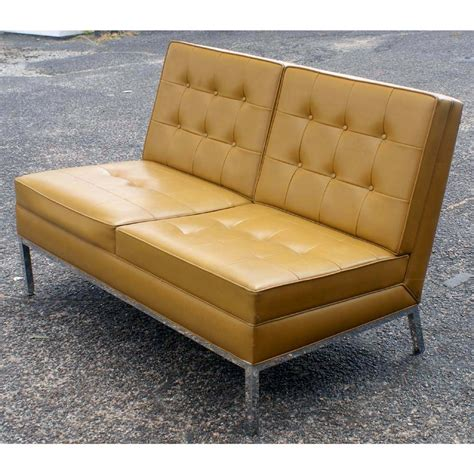 Retro Loveseat by Vintage Knoll Style Steelcase Loveseat Polished Chrome Ebay