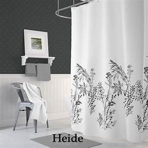 Duschvorhang Schwarz Weiß : textil duschvorhang 120x200cm heide wei schwarz grau inkl ringe ebay ~ Yasmunasinghe.com Haus und Dekorationen