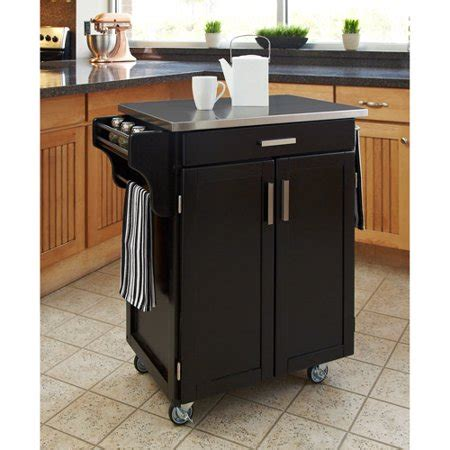walmart kitchen island home styles kitchen cart black stainless steel top
