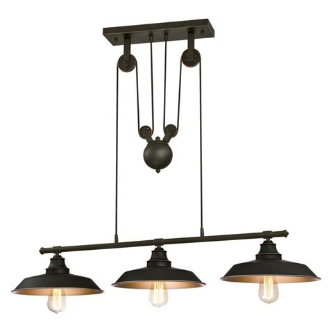 pulley pendant lights kitchen westinghouse iron hill 3 light rubbed bronze island 4443