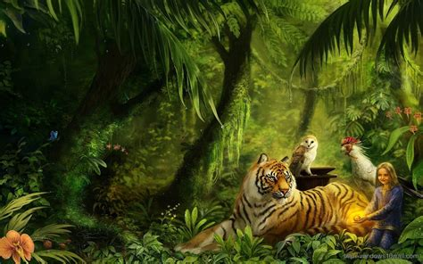 Cartoon scenery with large, powerful waterfall. Animated Tiger Wallpaper (56+ images)