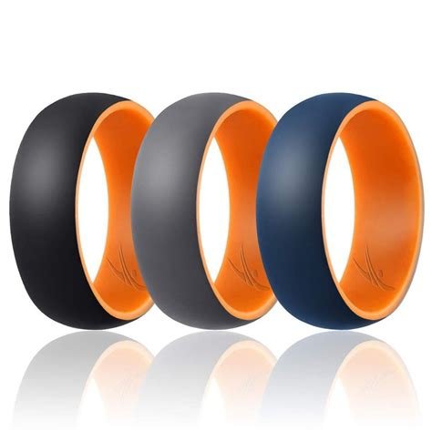 3 silicone rubber wedding bands for men roq dome duo collection