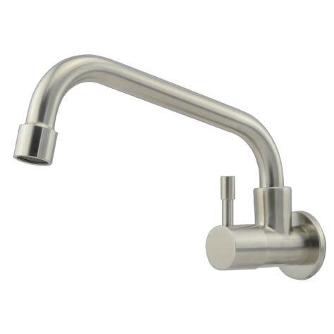 wall mount kitchen sink faucet wall mounted kitchen sink faucet single cold water tap brushed nickel ebay