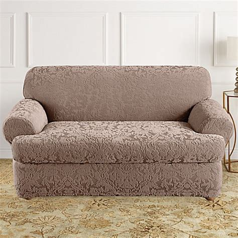 2 T Cushion Loveseat Slipcover by Buy Sure Fit 174 Stretch Jacquard T Cushion 2 Loveseat