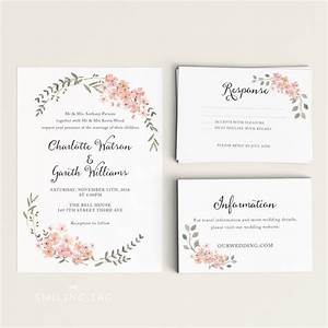 printable wedding invitation printable floral wedding With wedding invitations to download and print
