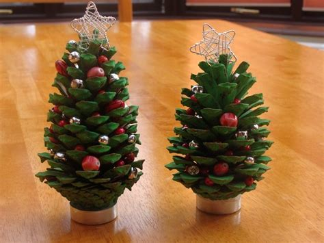 cheap house decorations mini tree made from pine cones craft projects