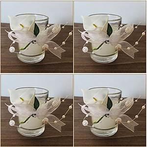 Kerze In Glas : 11 80 k7plus 4er teelicht mit kerze im glas mit schleifen und perlen 4 x calla wunderschne ~ Sanjose-hotels-ca.com Haus und Dekorationen