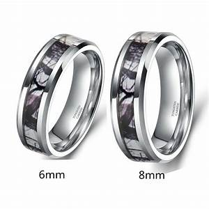 Men39s Tungsten Dome Ring Forest Camouflage Camo Real Tree
