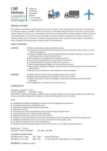 logistics manager resume templates cv description sles transport supply chain work