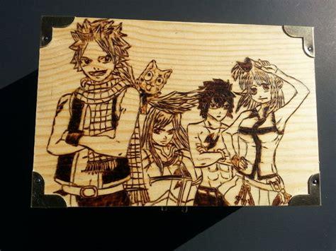 fairy tail inspired anime jewellery box wood burned