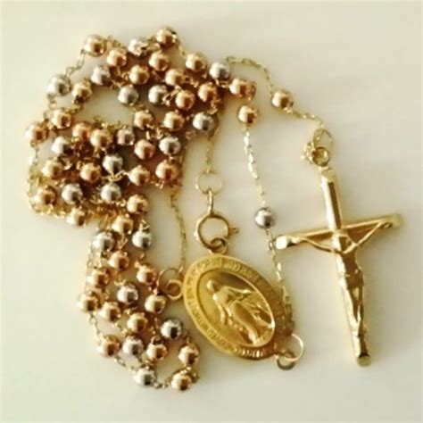 ct gold rosary beads chain tri colour italy yellow rose yellow