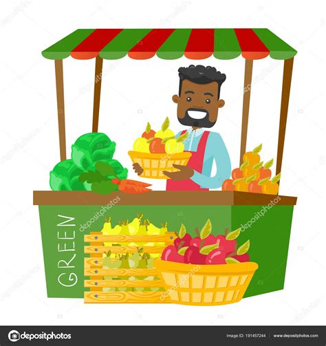 Dibujo ✓ te explicamos qué es el dibujo y por qué es una herramienta de expresión. Imágenes: ferias animadas   Vendedor de calle africana con frutas y verduras — Vector de stock ...