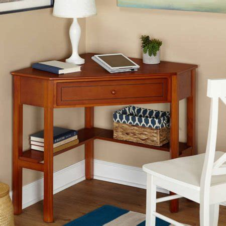 corner writing desk  pullout drawer  shelf