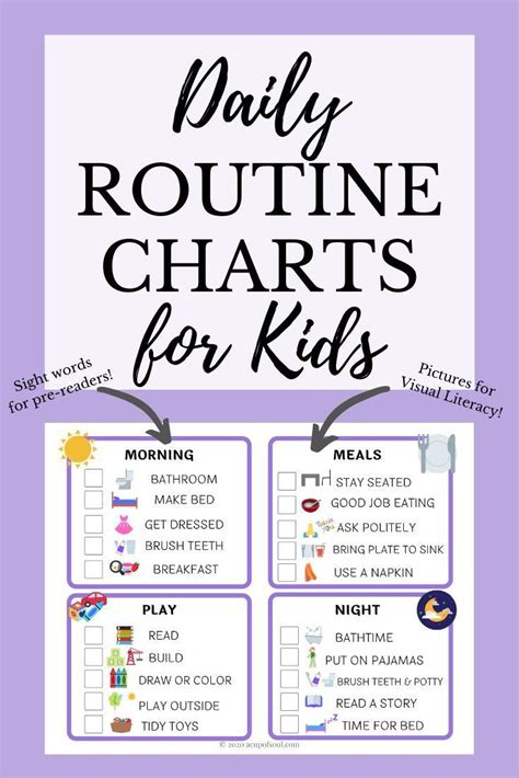 kids daily routine chart    images daily