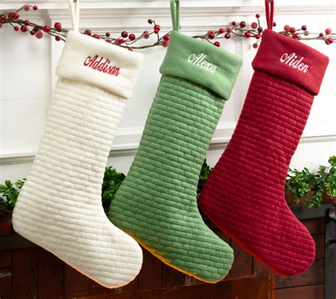 Personalized Christmas Stocking - Quilted Soft Cotton Ivory