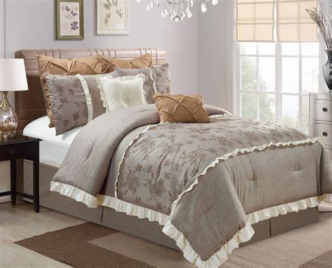 Chezmoi Collection Pc Embroidered Rose Ruffled Comforter