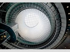 new york's fulton center transit hub topped with giant sky