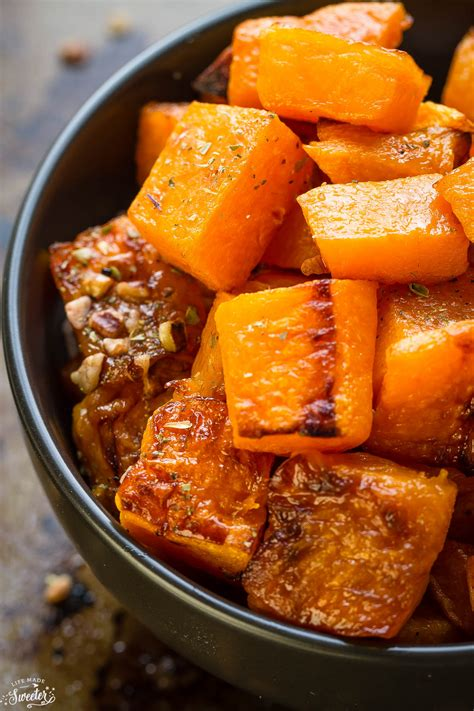 maple pecan roasted butternut squash life  sweeter