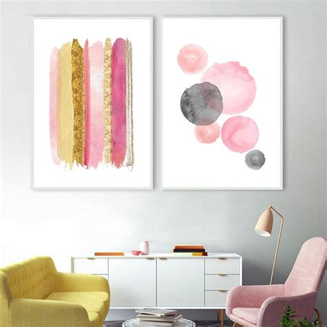 ✓ free for commercial use ✓ high quality images. Pink Rose Gold Wall Art Abstract Glitter Canvas Painting Watercolour Posters and Prints Modern ...