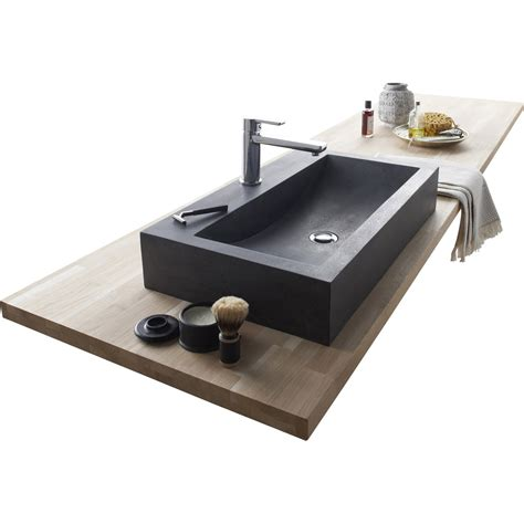 vasque 224 poser basalte l 70 x p 40 cm gris anthracite edith leroy merlin
