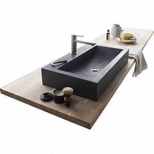 Vasque À Poser Rectangulaire : vasque poser basalte x cm gris anthracite ~ Melissatoandfro.com Idées de Décoration