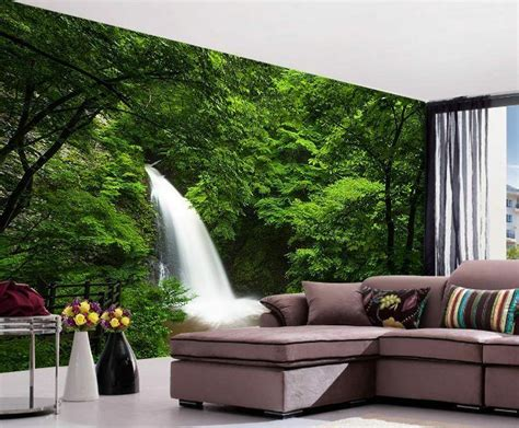 deep forest waterfall nature full wall mural photo