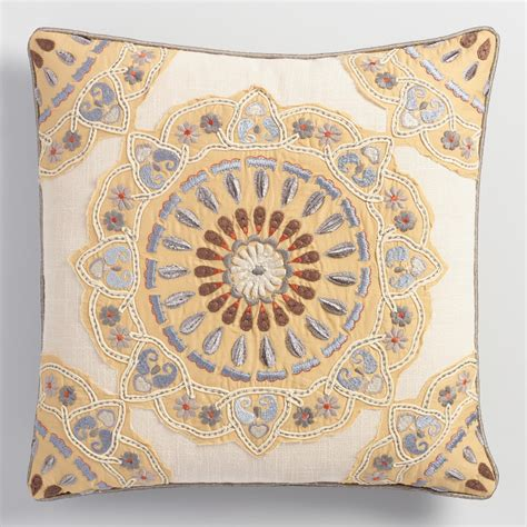 medallion throw pillow appliqued and embroidered medallion throw pillow world