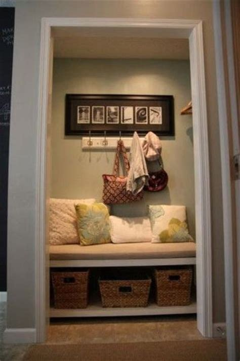 closet turned into mudroom entry and hallway