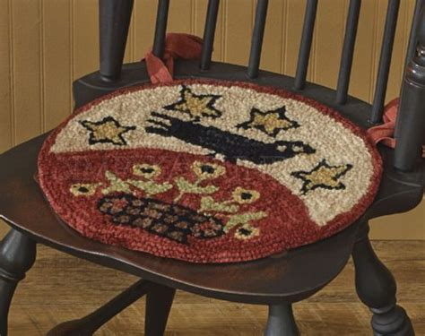 hooked chair pads folk hooked chair pad by park designs 14 5 quot diameter